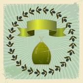 Vintage pohlednice s olivami a láhev oleje. eps10 — Stock vektor