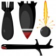 Stock Vector: The set bombs and missiles. eps10