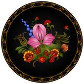 Petrikov dipinto. ornamento floreale vintage sul piatto rotondo nero — Vettoriale Stock