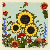 Traditional Ukrainian ornament with a sunflower on the vintage b — Stock Vector