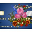 Wektor stockowy : Abstract credit card with floral ornament. eps10