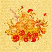 Floral arrangement on a yellow background with cracks. eps10 — Stockvector