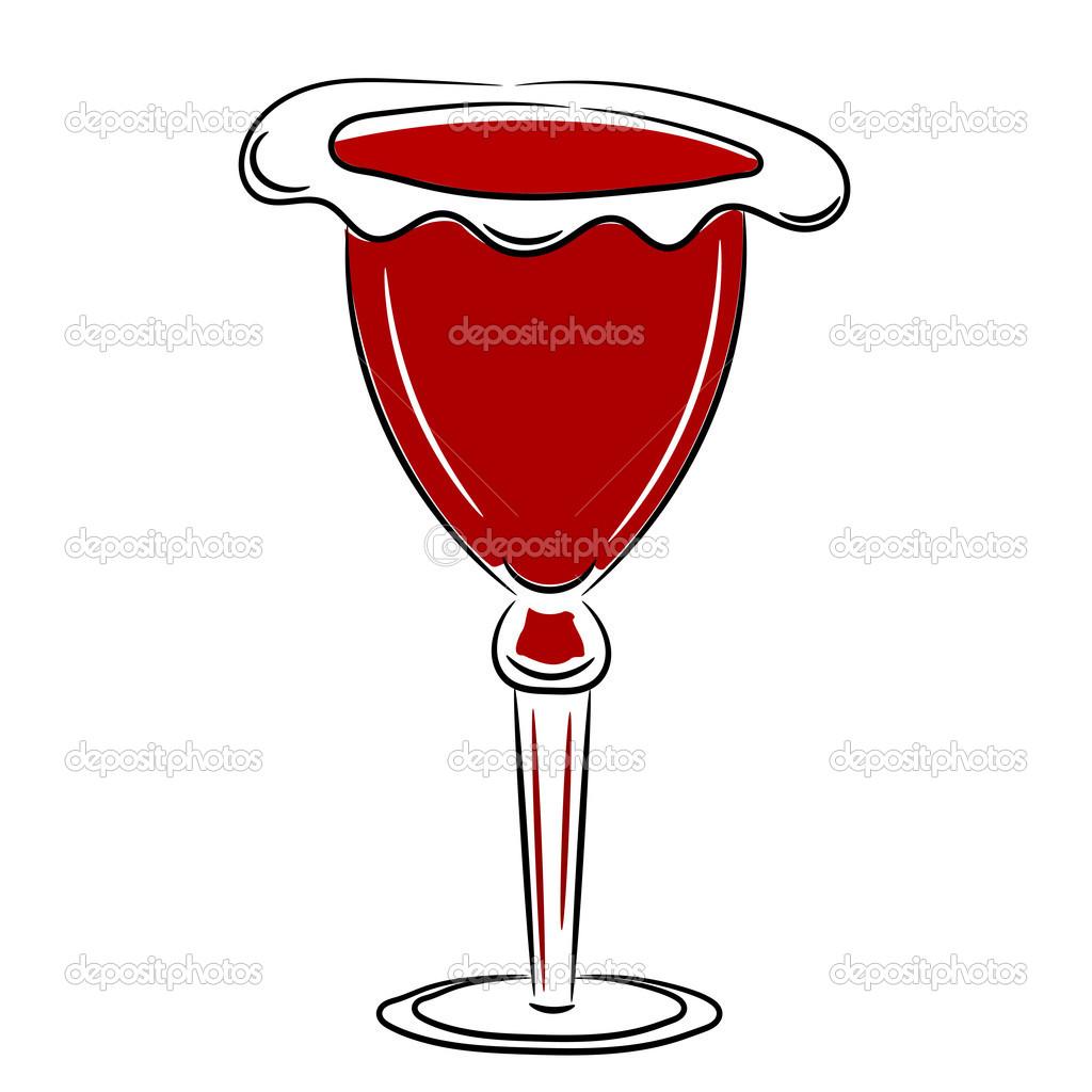Cartone animato il bicchiere di vino rosso eps