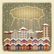 Stock Vector: Vintage card with retro image of city and cloud. eps10