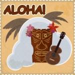 Vintage postcard with Hawaiian elements. eps10 — Stock Vector