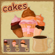 Vintage postcard - sign for a cafe - with a picture of cake and  — Stock Vector