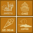 Set of vintage postcards for cafe with the image food. eps10 — Imagen vectorial