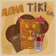 Vintage postcard - for tiki bar sign - featuring Hawaiian masks, — Stock Vector #18592089