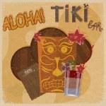 Vintage postcard - for tiki bar sign - featuring Hawaiian masks, — Stock Vector