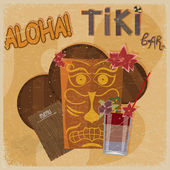 Vintage postcard - for tiki bar sign - featuring Hawaiian masks, — Stock Vector
