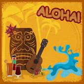 Vintage postcard with featuring Hawaiian masks, guitars and coc — Stock Vector
