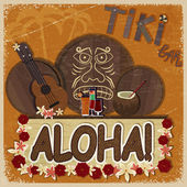 Vintage orange card - signboard tiki bar - with the image ukulel — Stock Vector