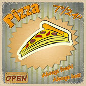 Vintage grunge card with a pizza menu. — Stock Vector