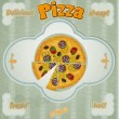 Vintage card with a picture of pizza with a cut piece. - Image vectorielle