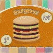 Vintage background with the image of  big hamburger. — Stock Vector