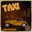 Stock Vector: Vintage Postcard - Invitation to trip - image taxis