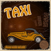 Vintage Postcard - Invitation to the trip - the image taxis — Stock Vector