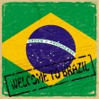 Vintage background with flag of Brazil - 图库矢量图片