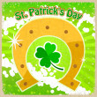 Vintage background with the image of clover St. Patrick's Day and horseshoe — Stock Vector