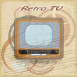 Stock Vector: Outdated TV on vintage background
