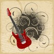 Vintage paper background with the image of an electric guitar - Stock Vector