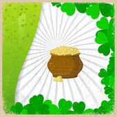Vintage background with the image leaf clovers and pots of gold coins - a symbol of St. Patrick's Day. — Stock Vector