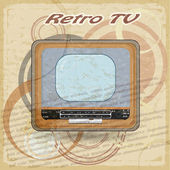Outdated TV on vintage background — Stock Vector
