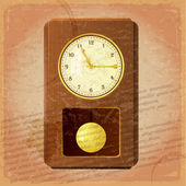 Vintage clock on a grungy background — Stock Vector
