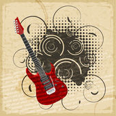 Vintage paper background with the image of an electric guitar — Stock Vector
