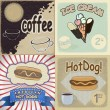 Stock Vector: Set of vintage cards with the image of fast food