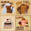 Set of vintage cards - invitations - with food and Hawaiian mask — Stock Vector