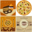 Set of vintage cards with the image of food — Imagens vectoriais em stock