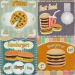 Set of vintage cards - fast food ads - with the image food — Imagen vectorial