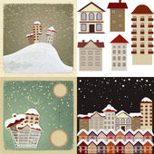 Set of vintage cards with the images of houses. — Stock Vector