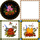 Set of images of decorative floral frame — Stock Vector