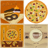 Set of vintage cards with the image of food — Stock Vector
