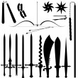 Stock Vector: Set of item bladed weapons
