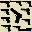 A set of silhouettes of pistols — Stock Vector