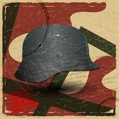 复古卡与法西斯军事头盔的图片 — 图库矢量图片