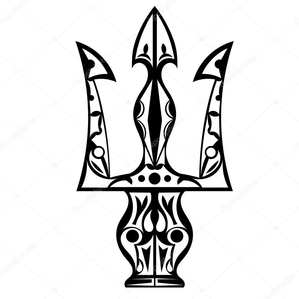 Poseidon Trident Tattoo Design Black and white tattoo trident