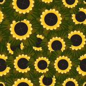 Seamless texture with sunflowers and green leaves — Stock Vector