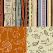 Set of fullcolor patterns primitive tribal pattern — Stock Vector