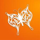Turuncu arka plan ile bir kağıt kelebek — Stok Vektör