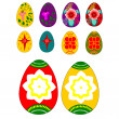 Set of Easter eggs with ornamental painting — Stock Vector