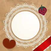 Vintage doily on the old paper background — Stock Vector
