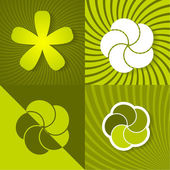 Set a green spring backgrounds with flowers — Stock Vector