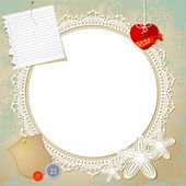 Vintage doily on the old grunge background — Stock Vector