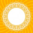 Stock Vector: White lace doily on orange background with rays