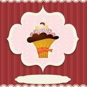 Vintage card with cupcake — Stock vektor