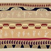 无缝部落模式与原始人的剪影 — 图库矢量图片